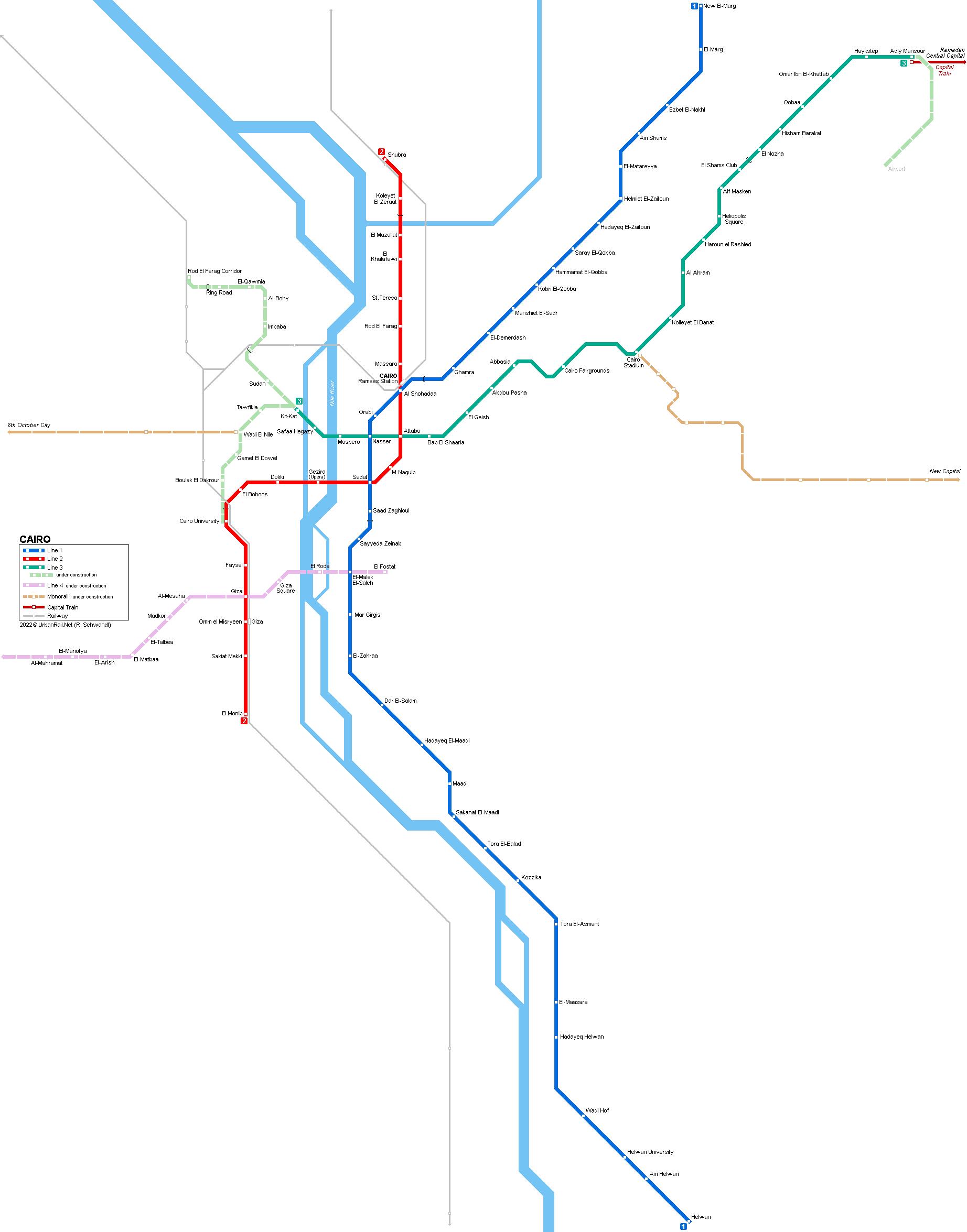 2 3 Train Subway Map.Urbanrail Net Africa Egypt Cairo Metro