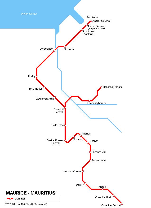 Mapa kolejové dopravy na ostrově Mauricius