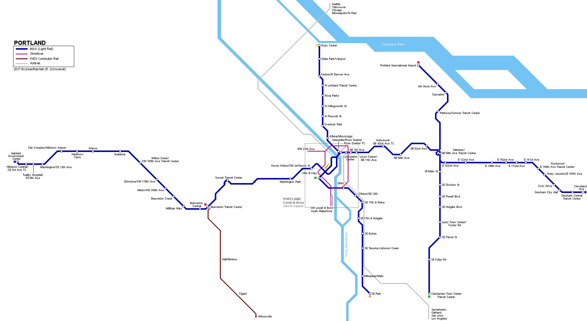 UrbanRailNet USA Portland Light Rail Map – Map Usa Portland