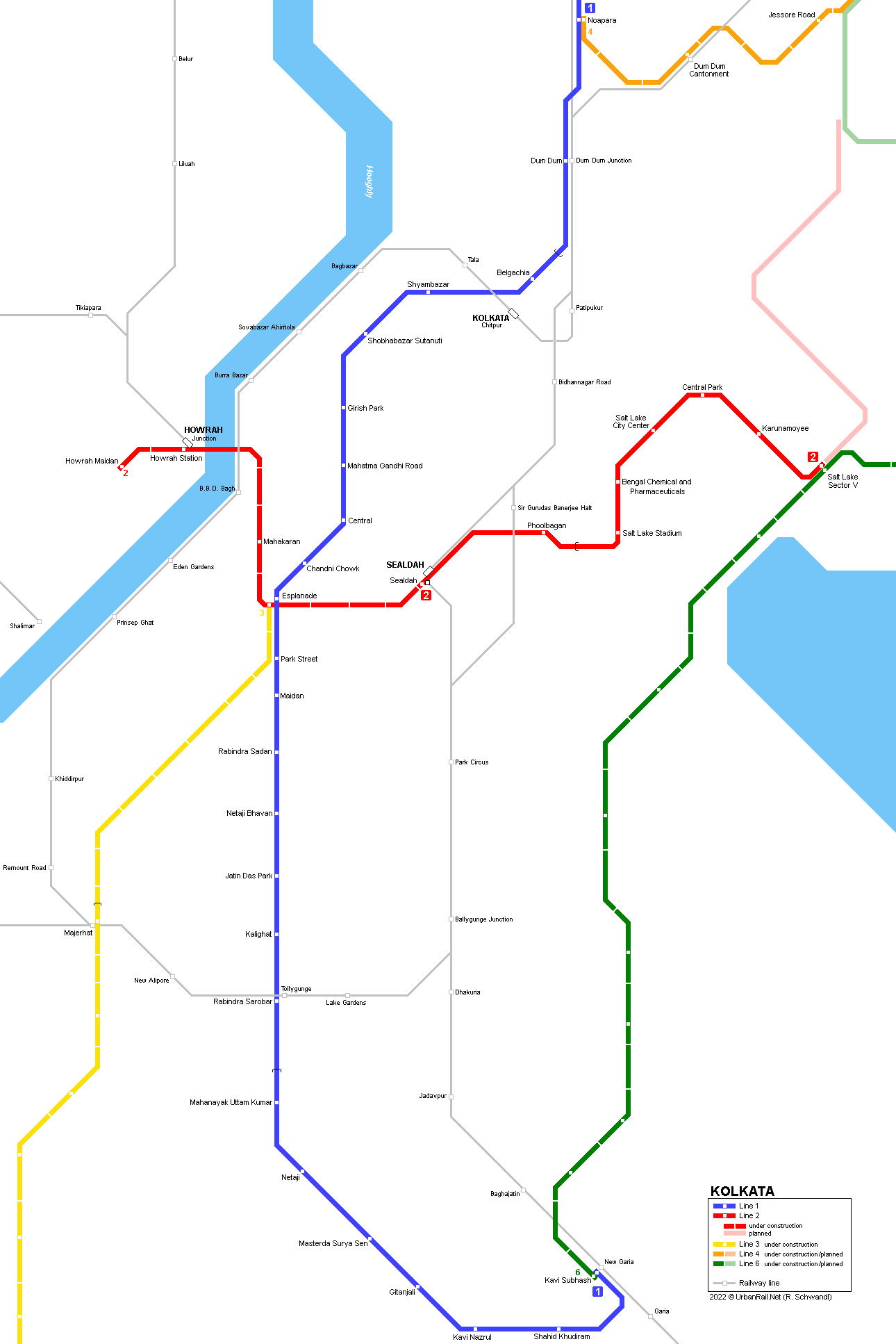 Subway Map Example Basic.Urbanrail Net Asia India West Bengal Kolkata Calcutta Metro