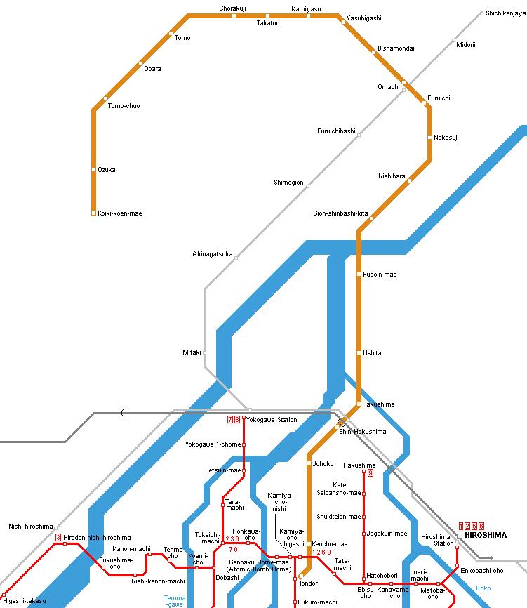 UrbanRailNet Asia Japan Hiroshima Astram Line Metro - Japan map hiroshima