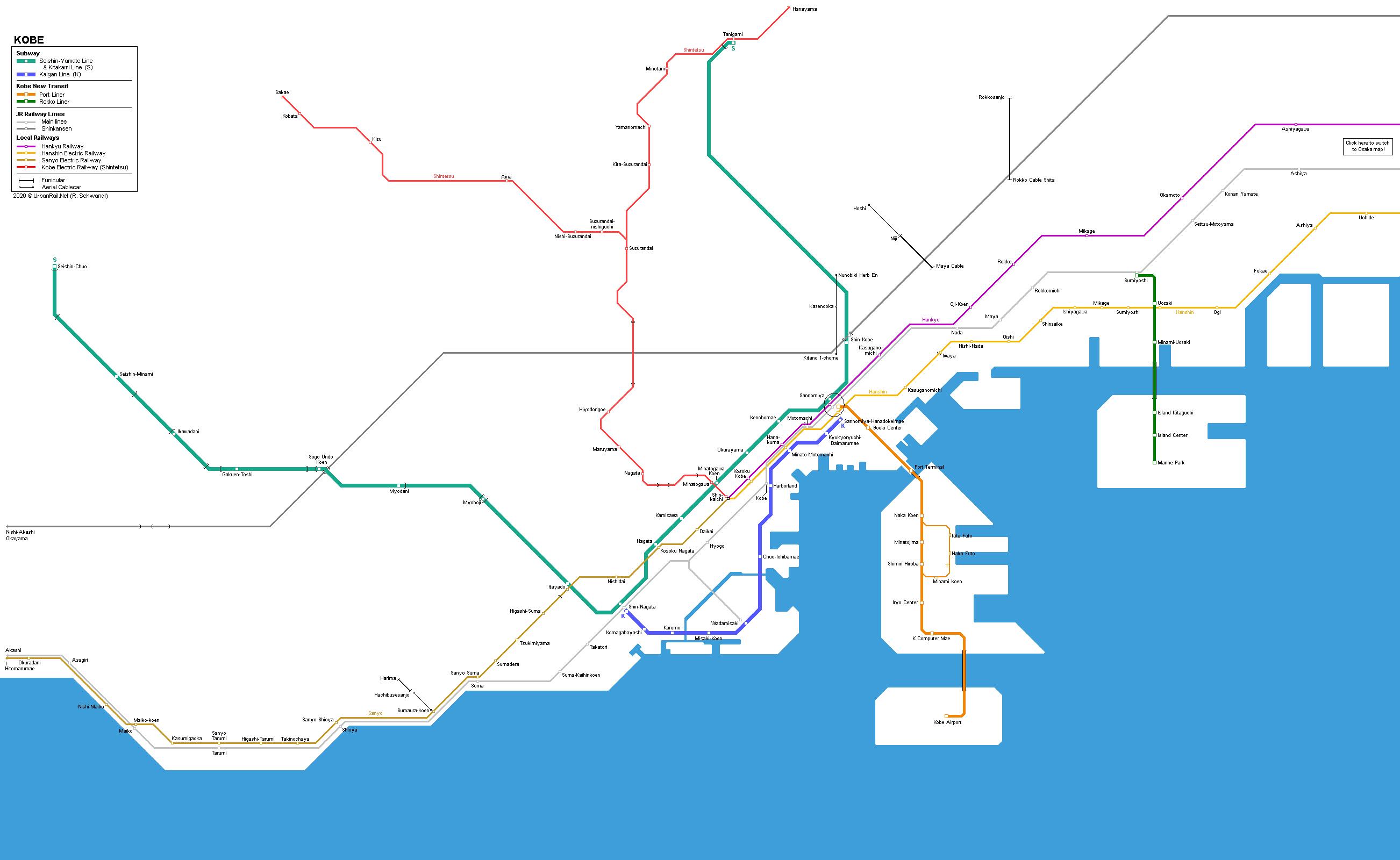 UrbanRailNet Kobe Railway Map Subway JR Local Railways