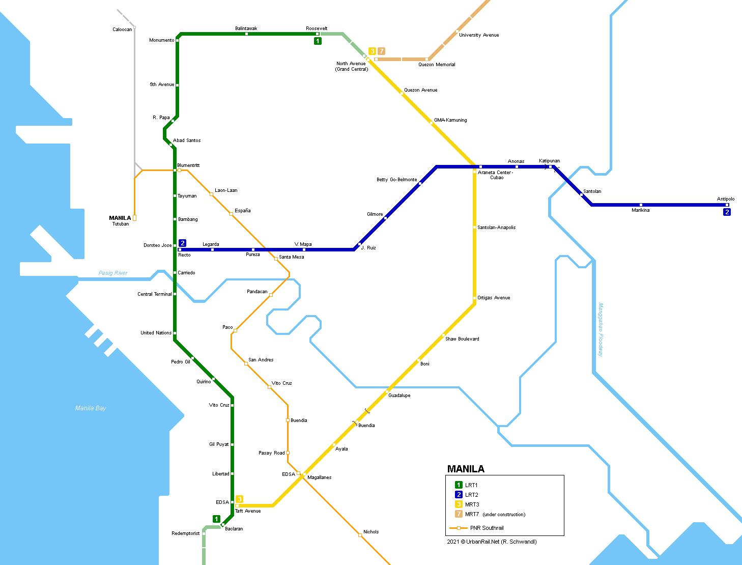 Mega Manila Subway Map.Urbanrail Net Asia Philippinges Manila Lrt Metro