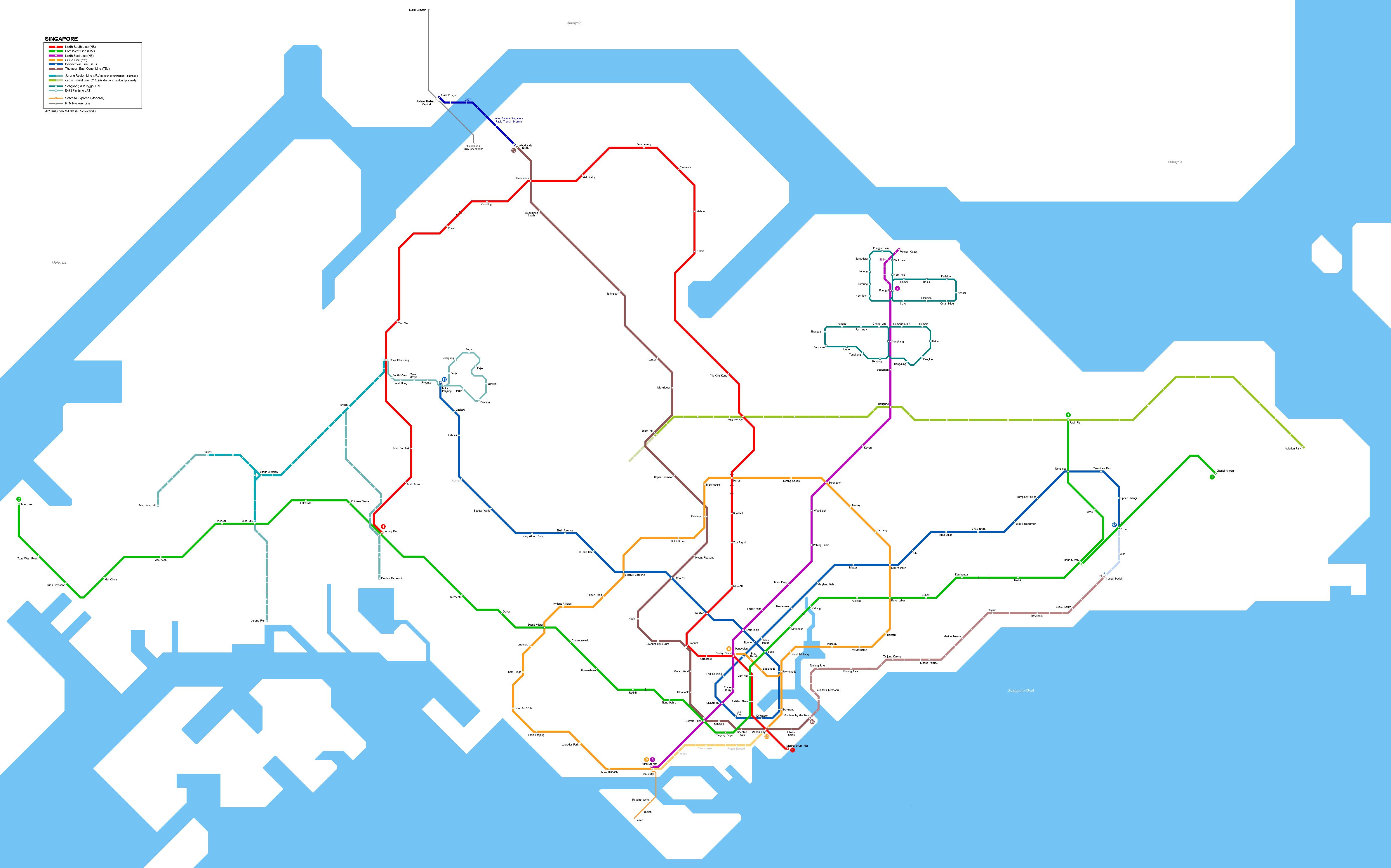 UrbanRailNet Singapore MRT And LRT Network Map - Singapore map