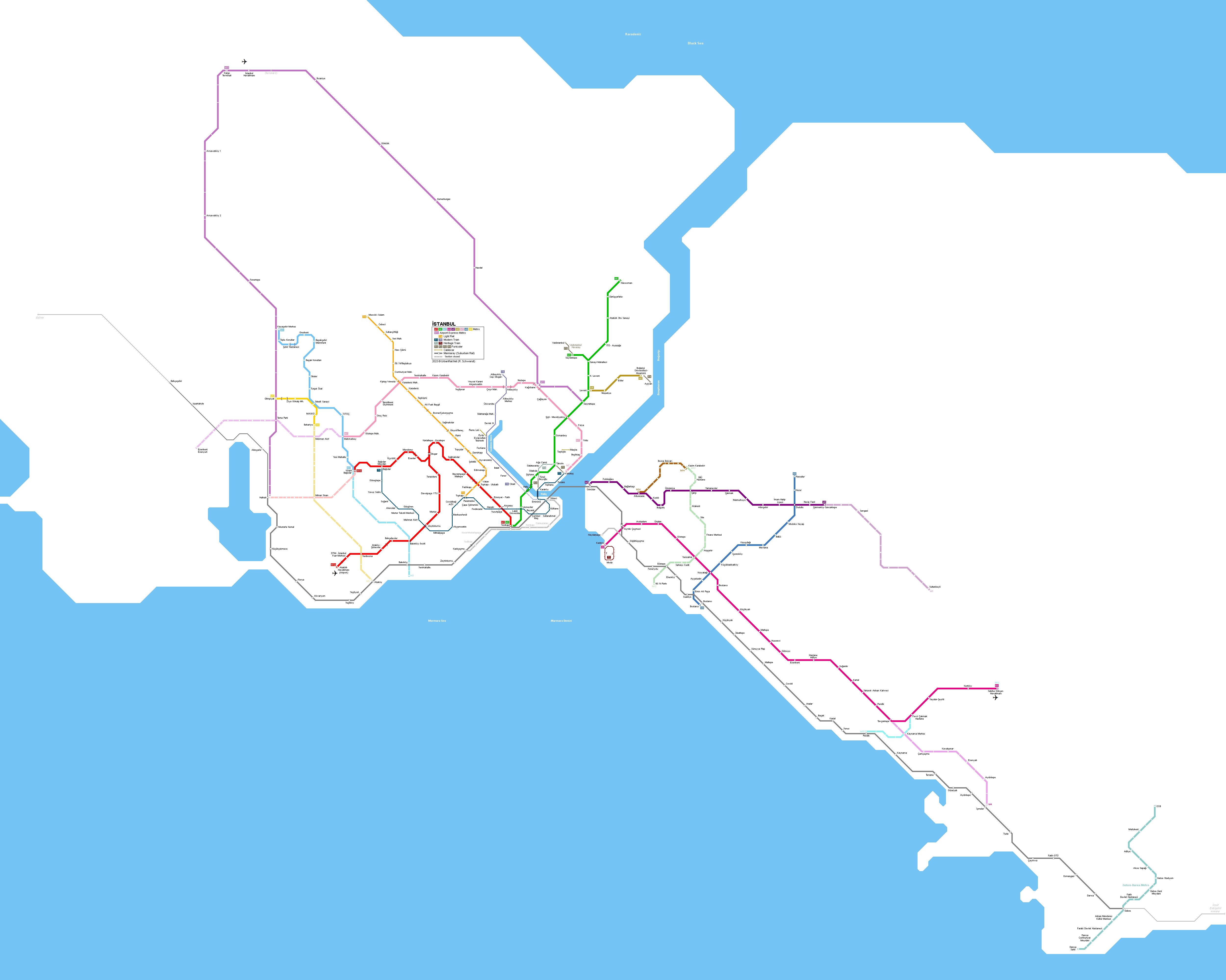 Istanbul Metro & Tram Map