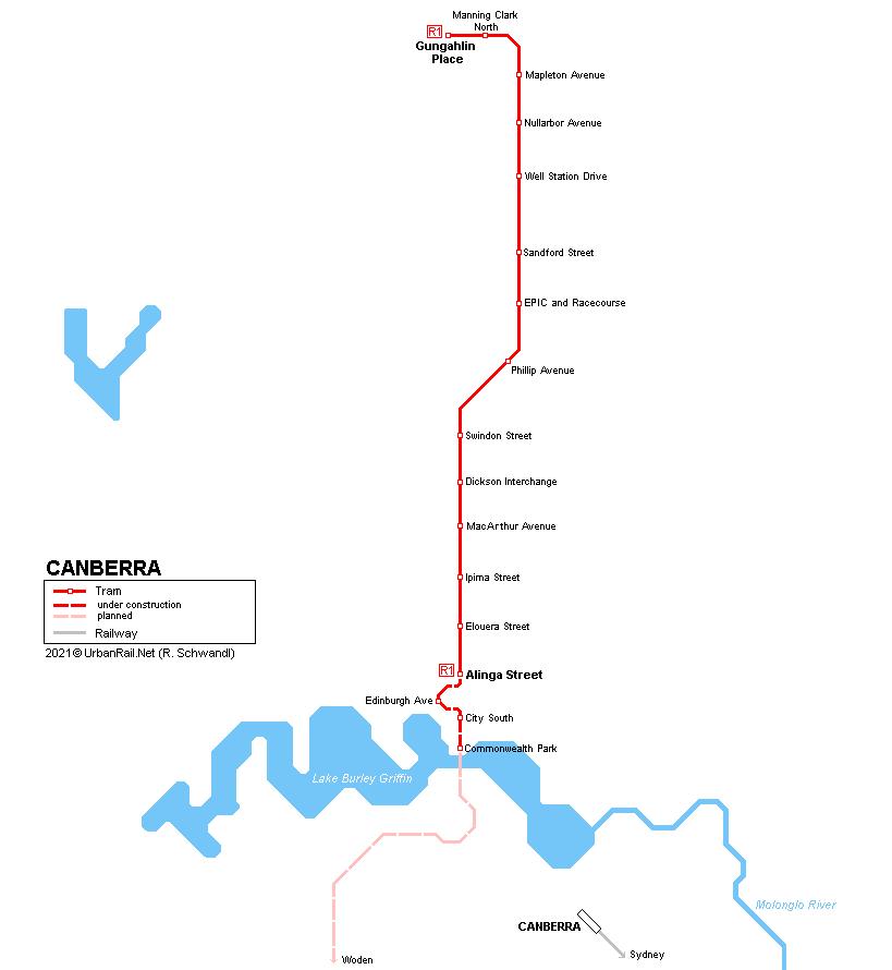 Australia Map Canberra.Urbanrail Net Oceania Australia Canberra Capital Metro Tram