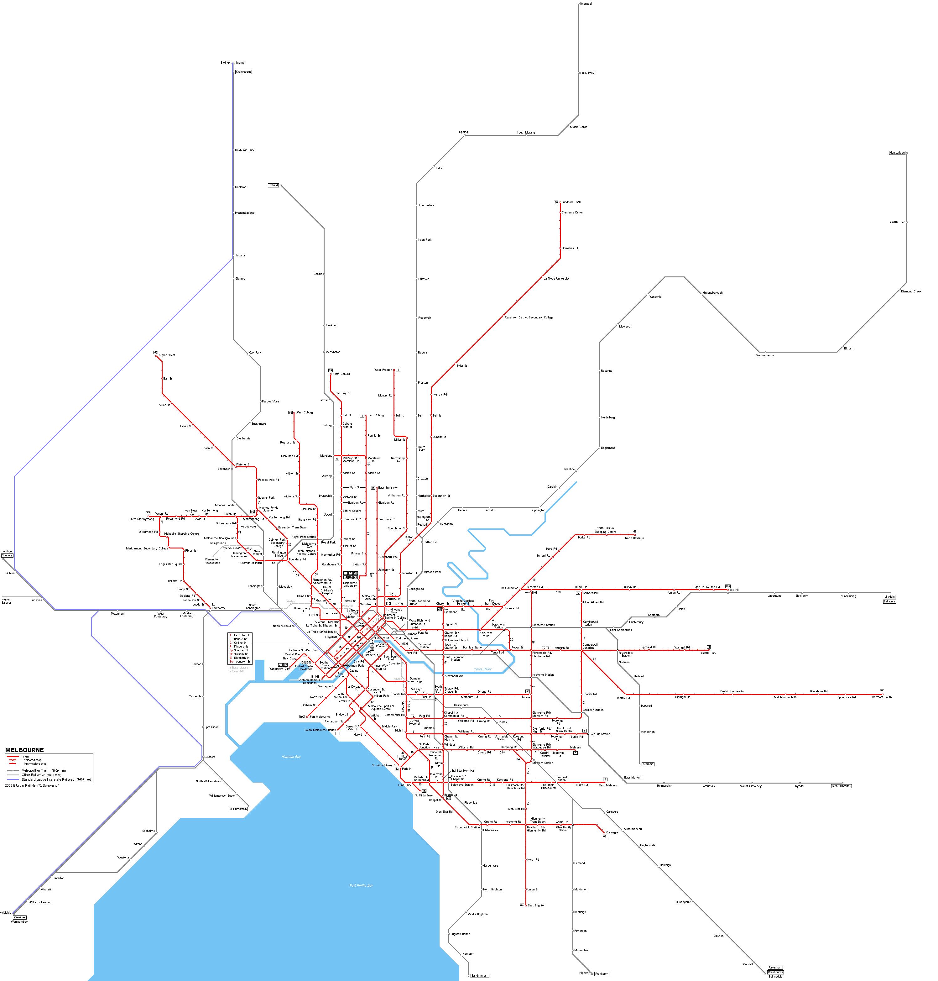 UrbanRailNet Melbourne Tram Train Map