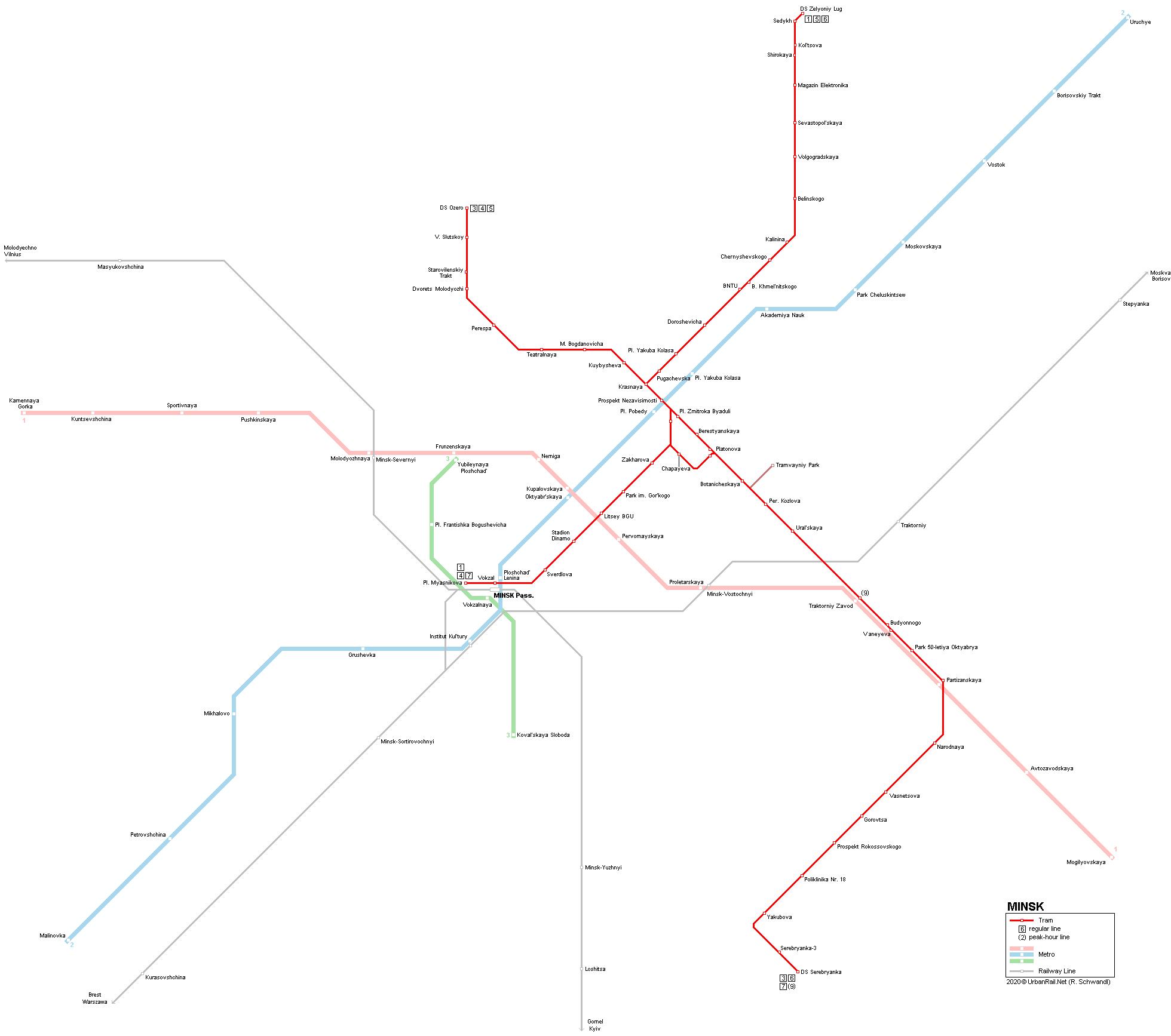UrbanRail Net > Minsk Tram & Metro Map