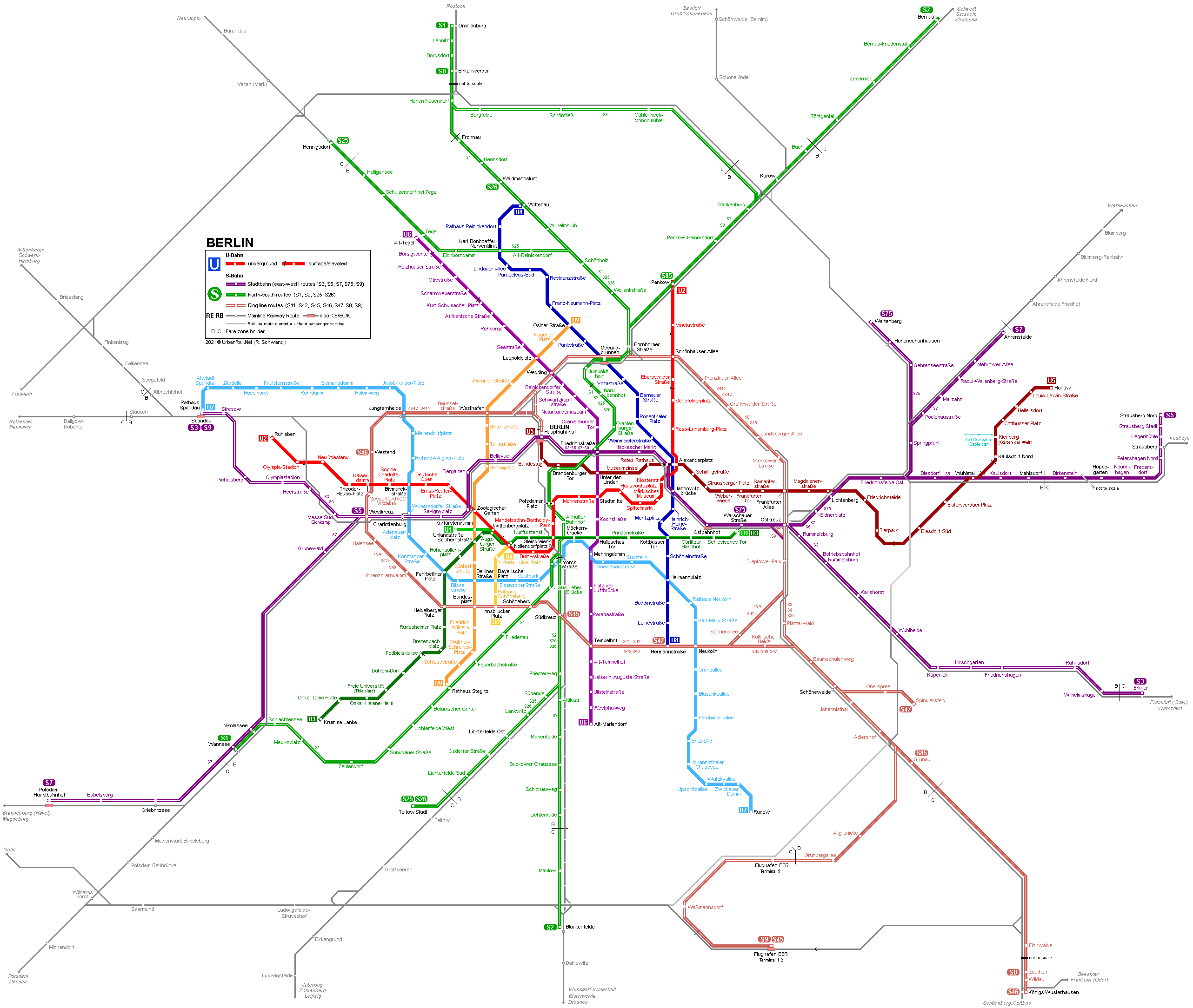 Karta Berlin Bvg.Berlin U Bahn S Bahn Network Map Netzplan