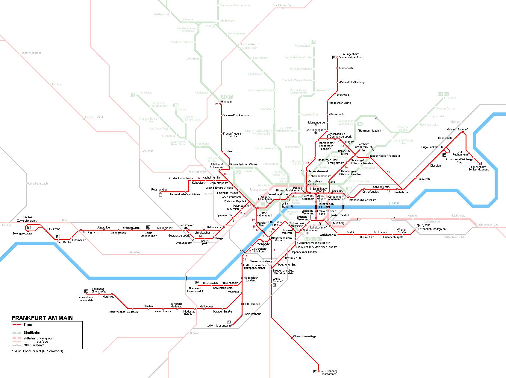 Street map Frankfurt am Main metro