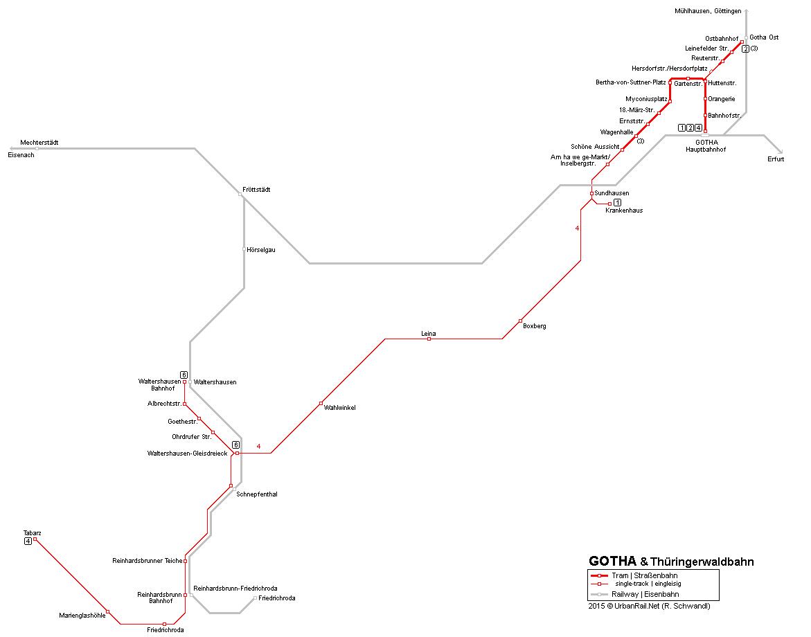 UrbanRailNet Europe Germany Thringen Gotha Tram Straenbahn
