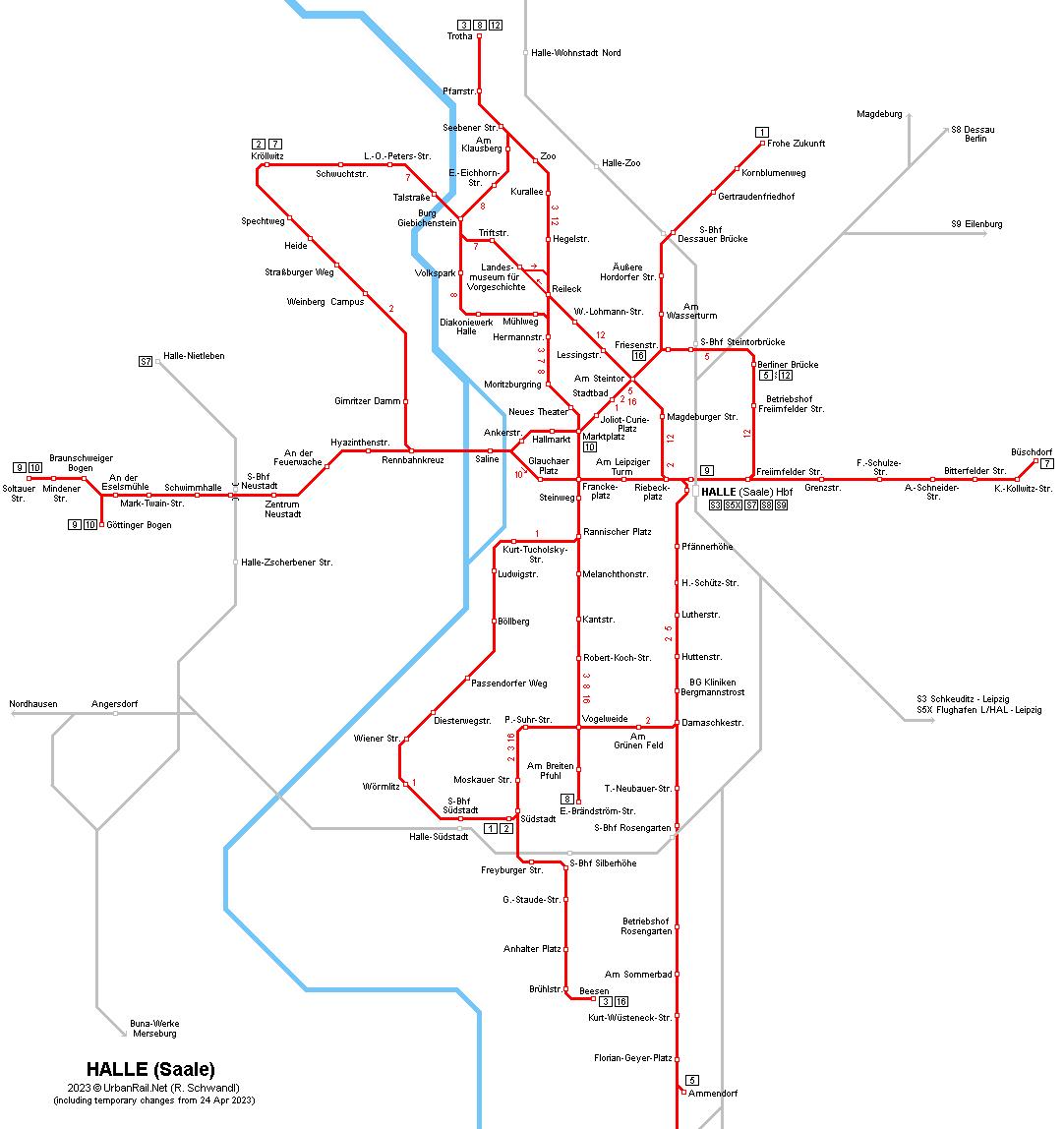 Halle Saale Karte.Urbanrail Net Europe Germany Sachsen Anhalt Halle