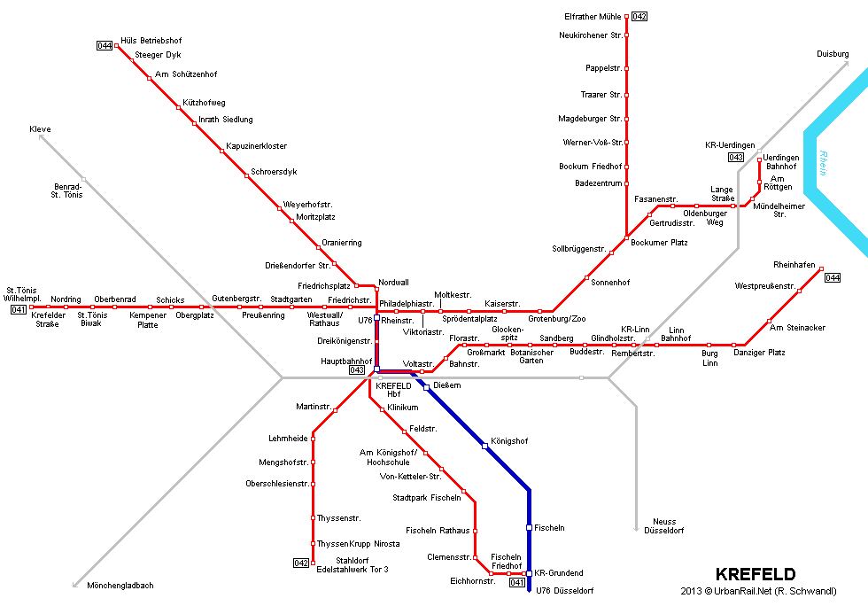 UrbanRailNet Europe Germany NRW Krefeld Tram Straenbahn