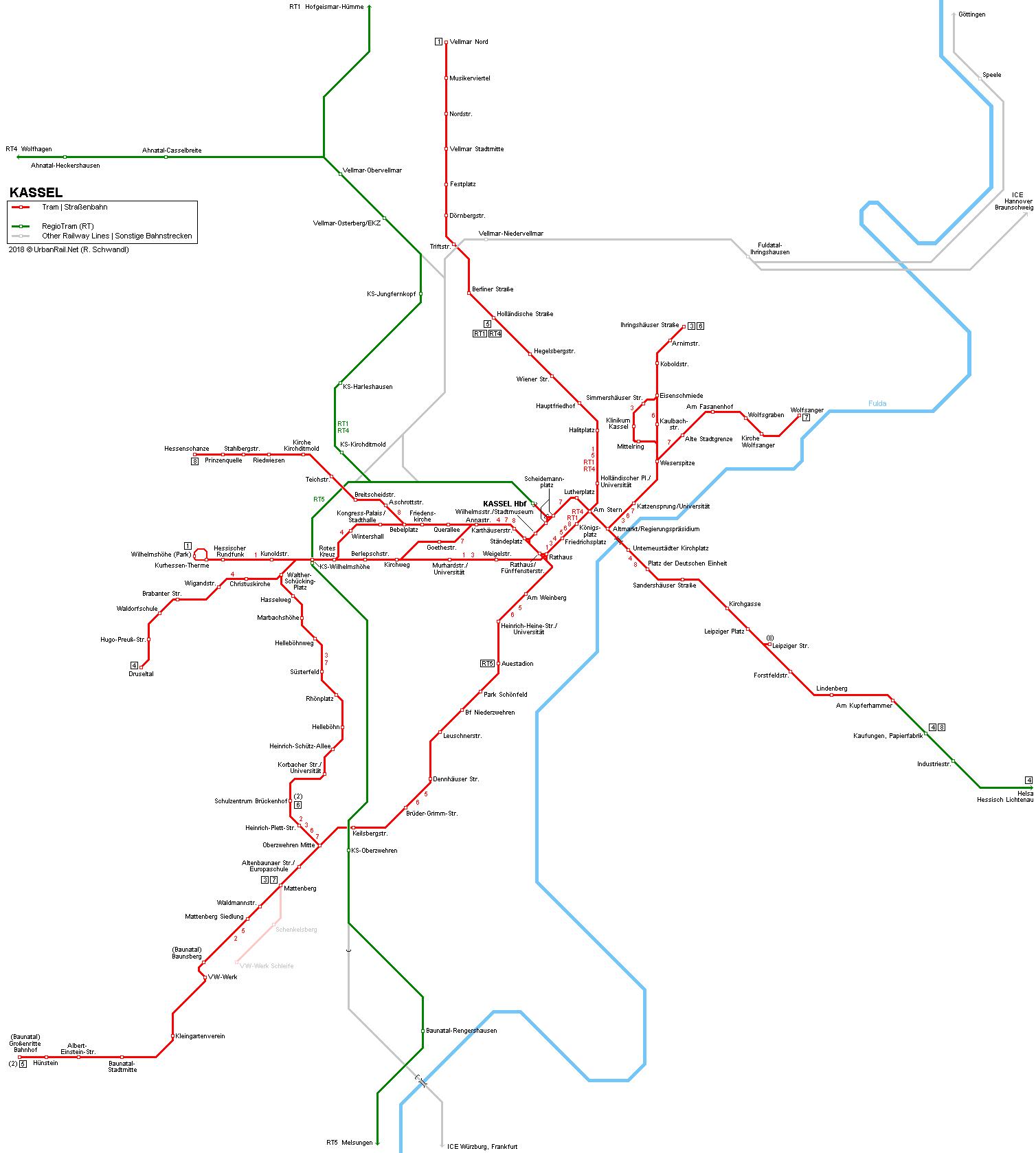 UrbanRailNet Europe Germany Hessen Kassel Tram Straenbahn