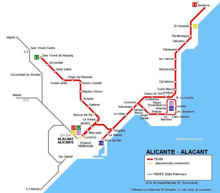Mapa Metro Valencia 2015.Urbanrail Net Europe Spain Alicante Alacant Metro
