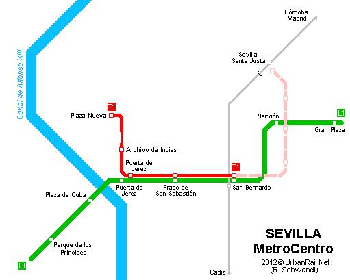 UrbanRailNet Europe Spain SEVILLA MetroCentro Tram