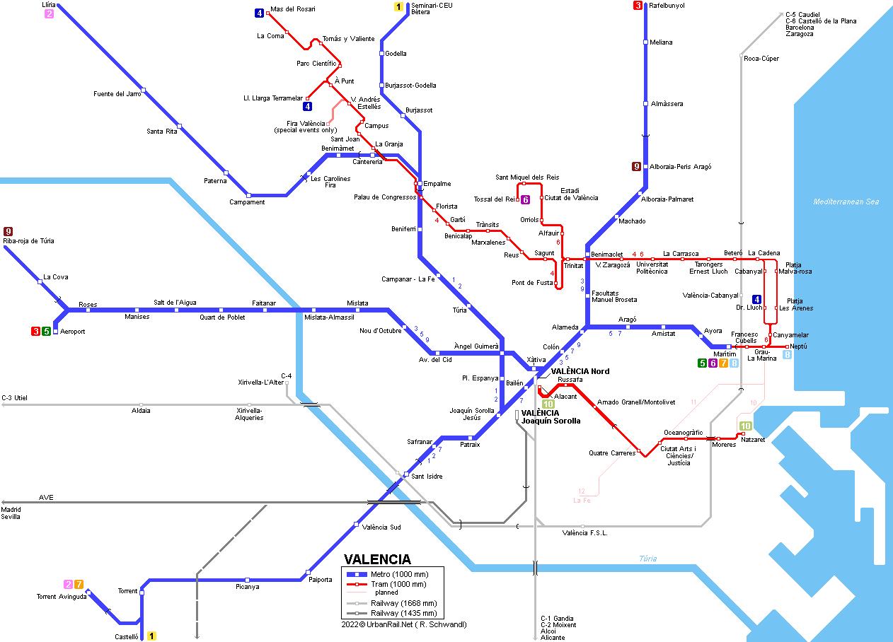 Valencia Map Of Spain.Urbanrail Net Europe Spain Metro De Valencia