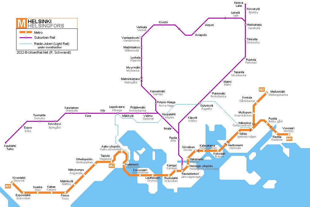 Helsinské metro a S-bahn.