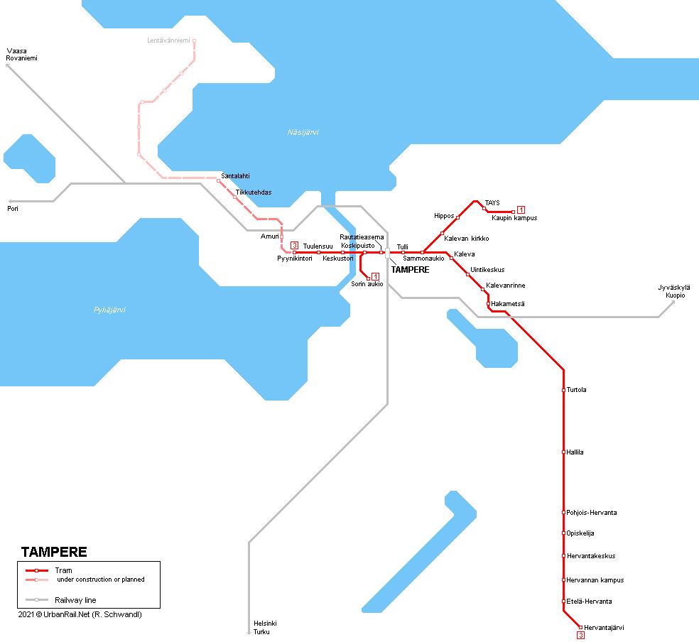UrbanRailNet Europe Finland Tampere Tram
