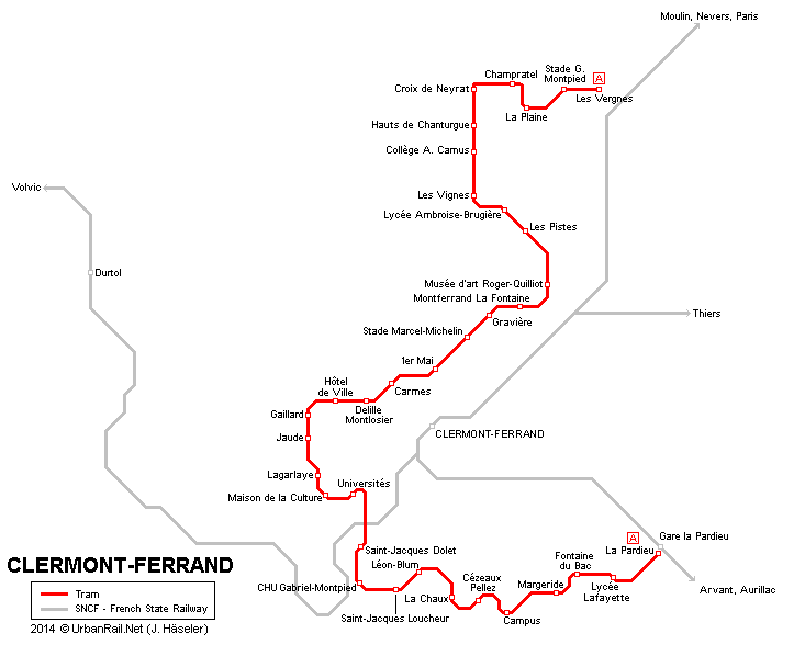 UrbanRailNet  Europe  France  ClermontFerrand Tram Translohr