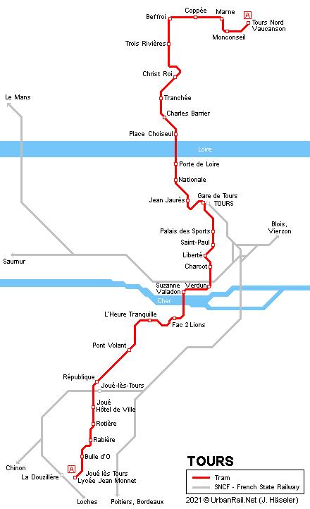 UrbanRailNet Europe France Tours Tram - Tours map