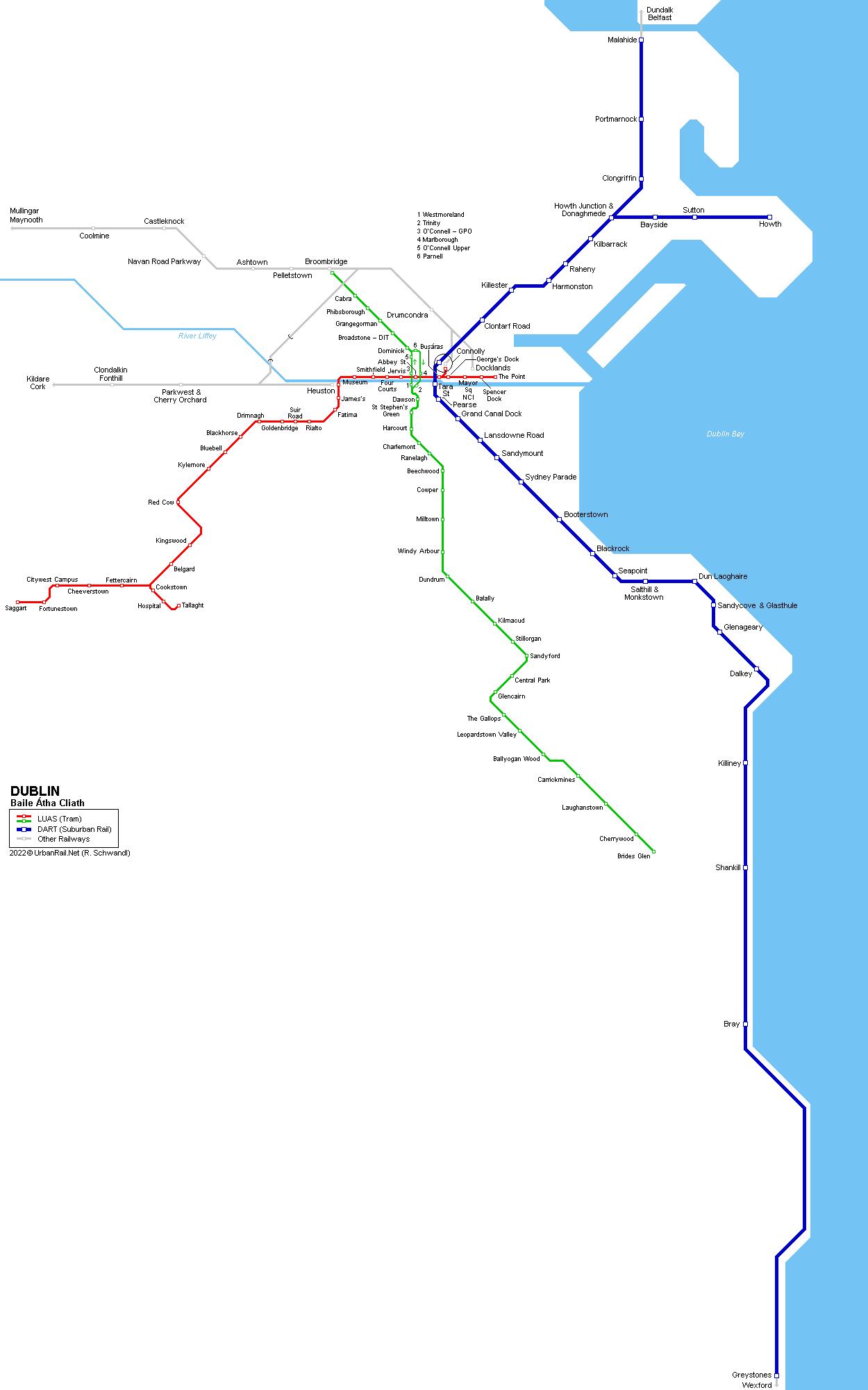 dublin luas dart map. urbanrailnet  dublin luas  dart map