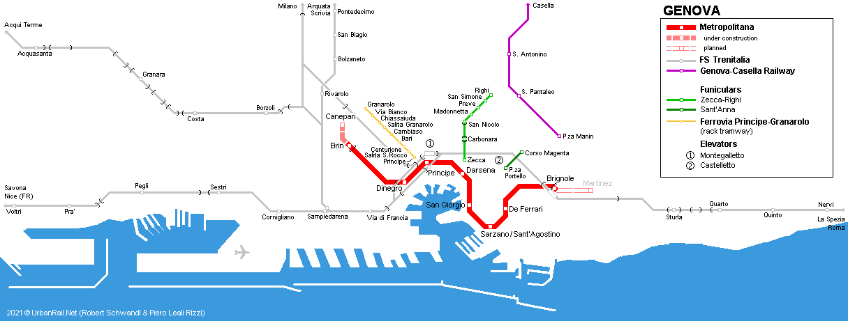 Italy Metro Map.Urbanrail Net Europe Italy Genoa Genova Metro