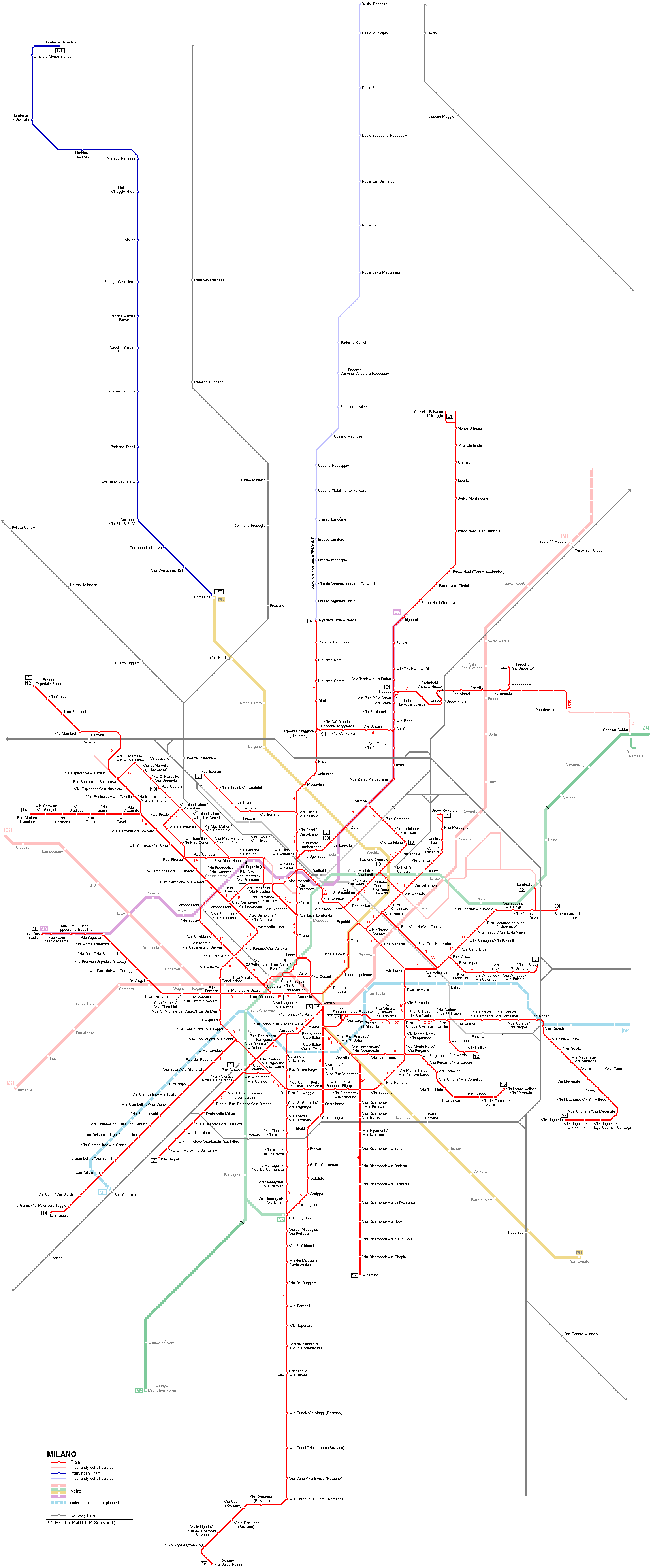 UrbanRailNet Milan Tram Network Map