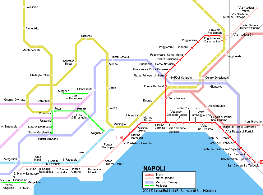 Napoli Subway Map.Urbanrail Net Europe Italy Tram Di Napoli Naples