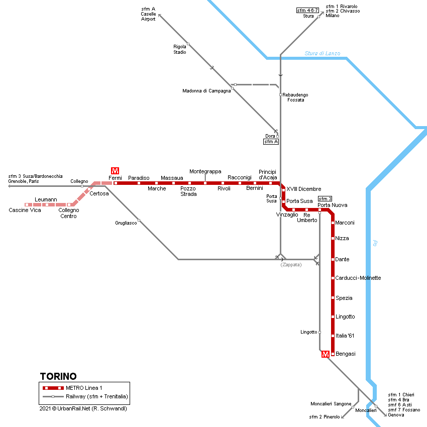 UrbanRail Net > Europe > Italy > TURIN Metro - Metropolitana
