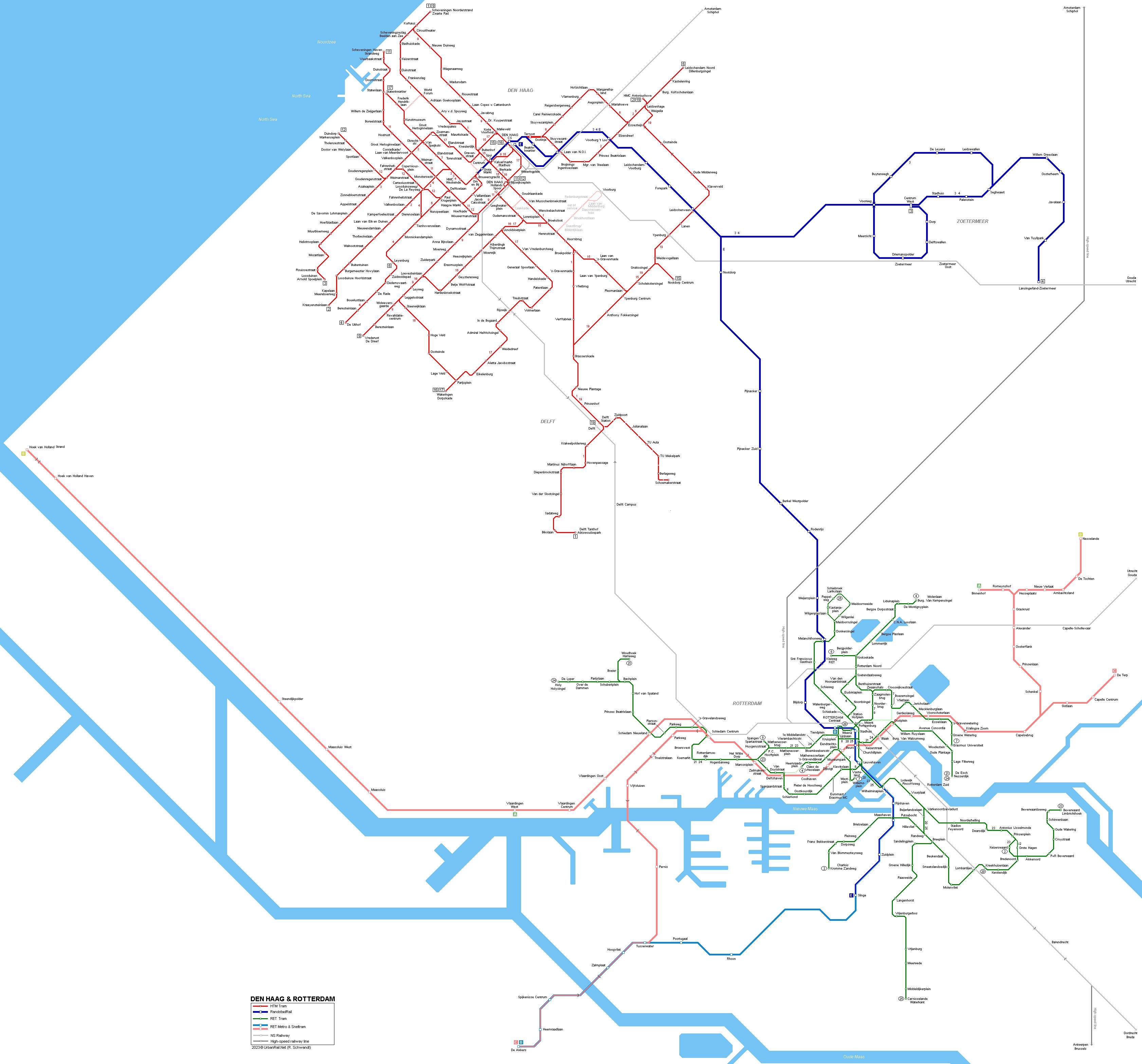 UrbanRailNet Den Haag Rotterdam Tram Metro Network Map