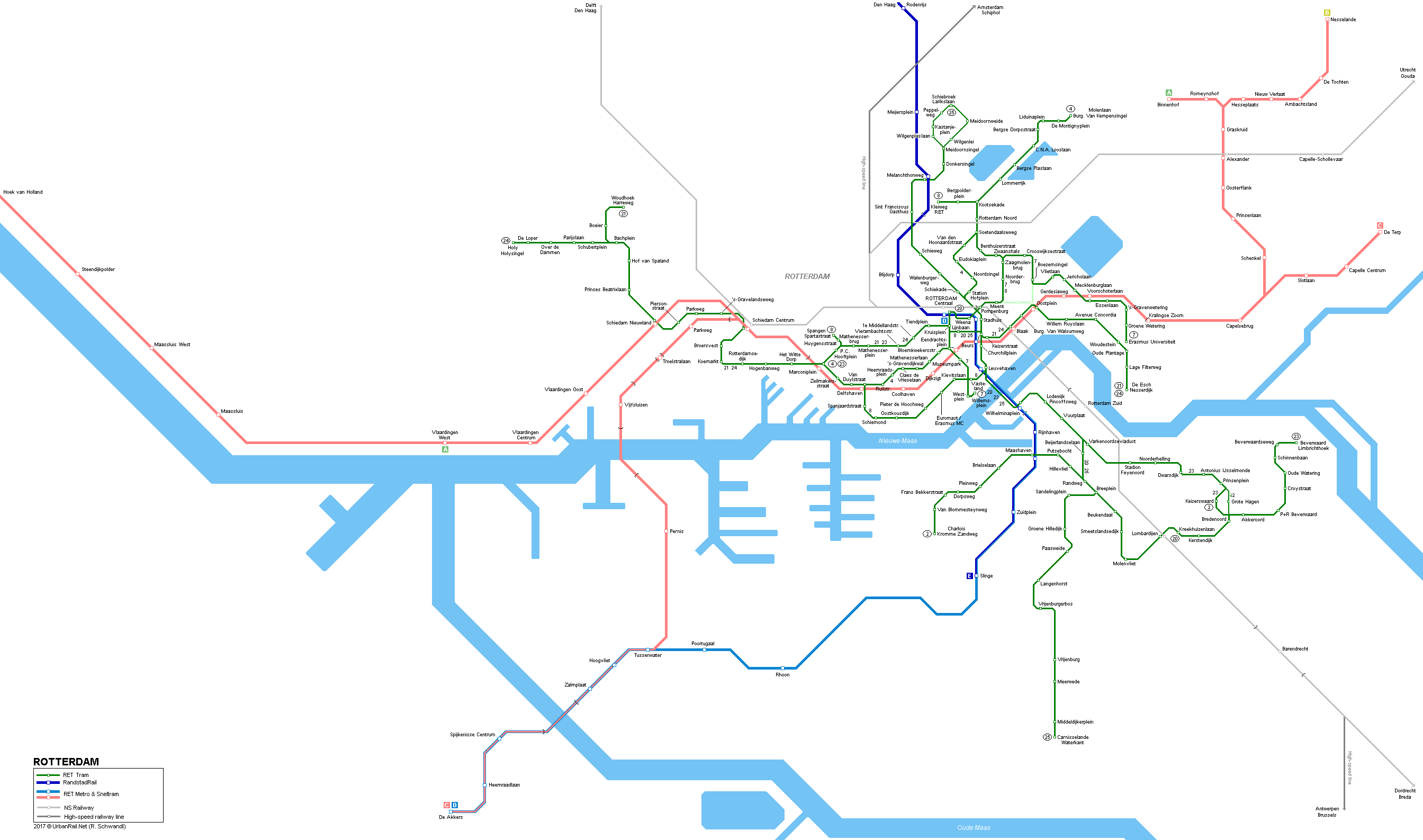 UrbanRailNet Rotterdam Tram Metro Network Map