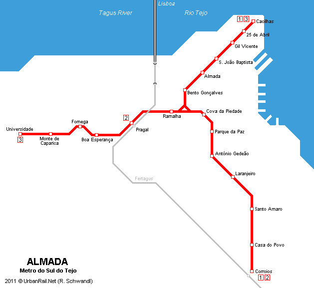 Subway Map Of Lisbon.Urbanrail Net Lisboa Almada Metro Sul Do Tejo