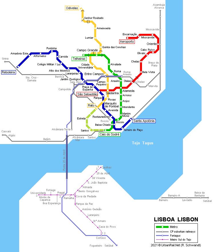 UrbanRailNet Europe Portugal Metropolitano De LISBOA - Lisbon portugal neighborhoods map
