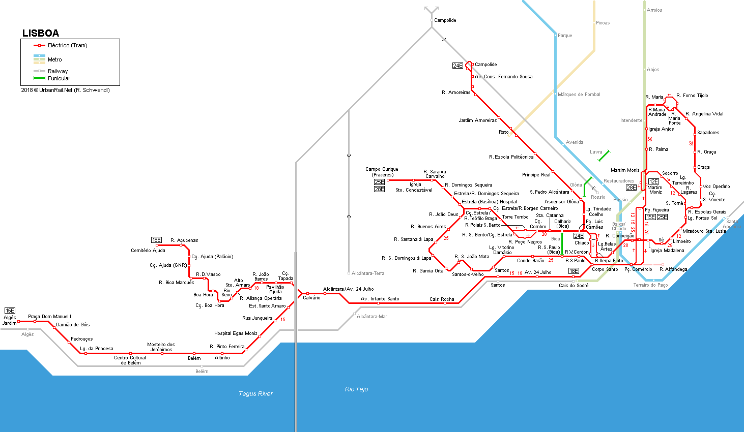 UrbanRailNet Europe Portugal Eléctricos De LISBOA Lisbon - Portugal rail map pdf