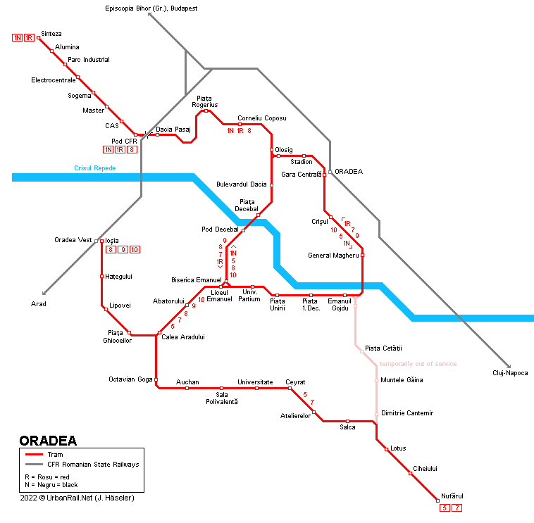 UrbanRailNet Europe Romania Oradea Tram - Oradea map