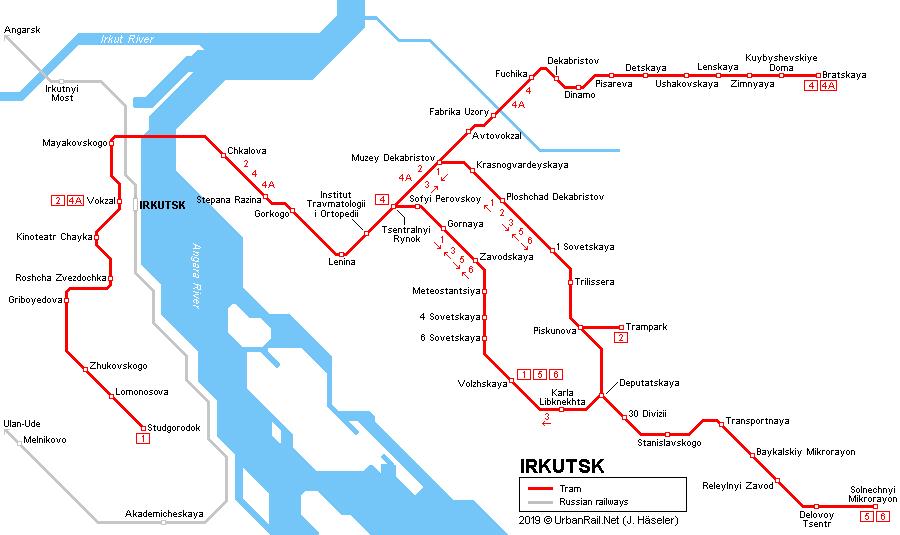UrbanRailNet Europe Russia Irkutsk Tram
