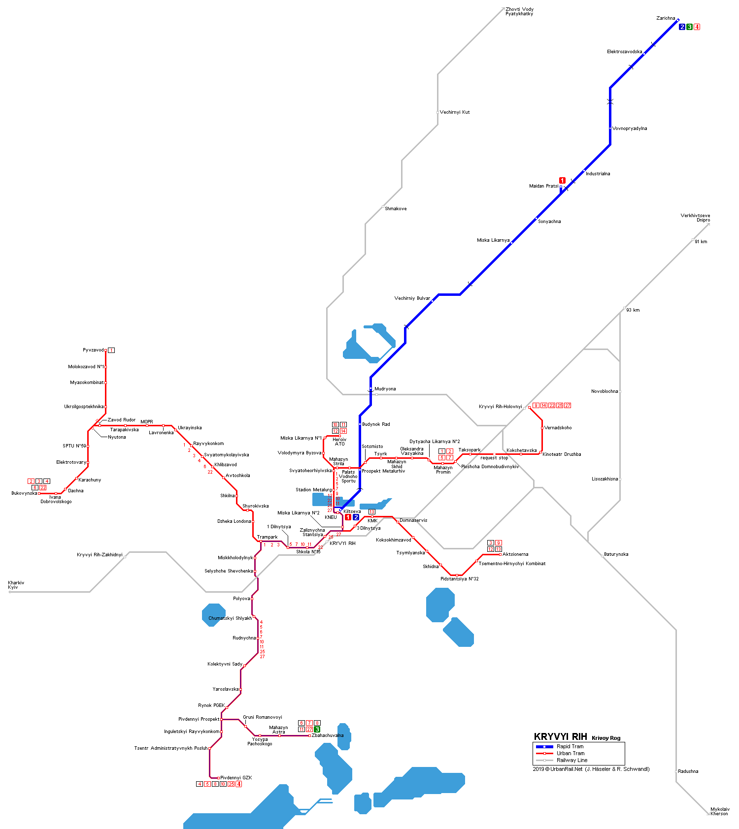 UrbanRailNet Europe Ukraine Kryvyi Rih Krivoy Rog metrotram