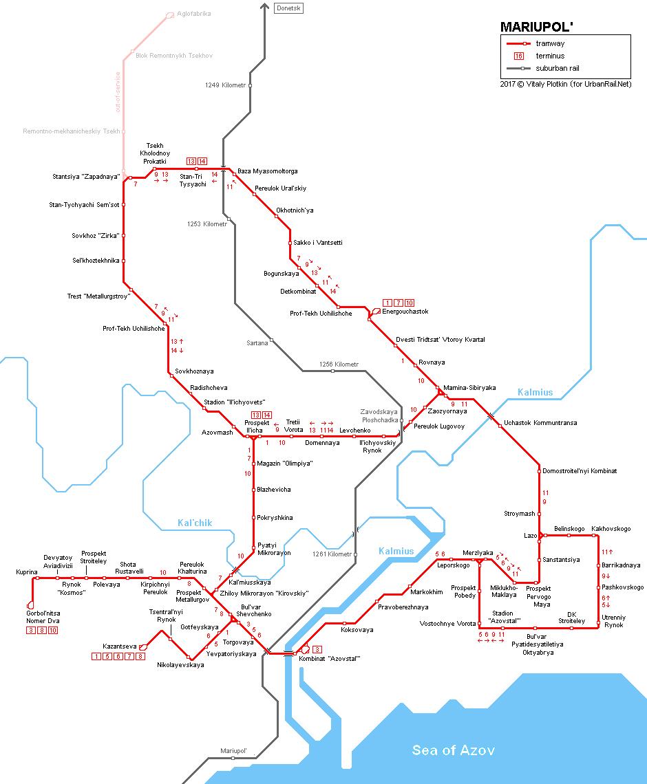 UrbanRailNet Europe Ukraine Mariupol Tram