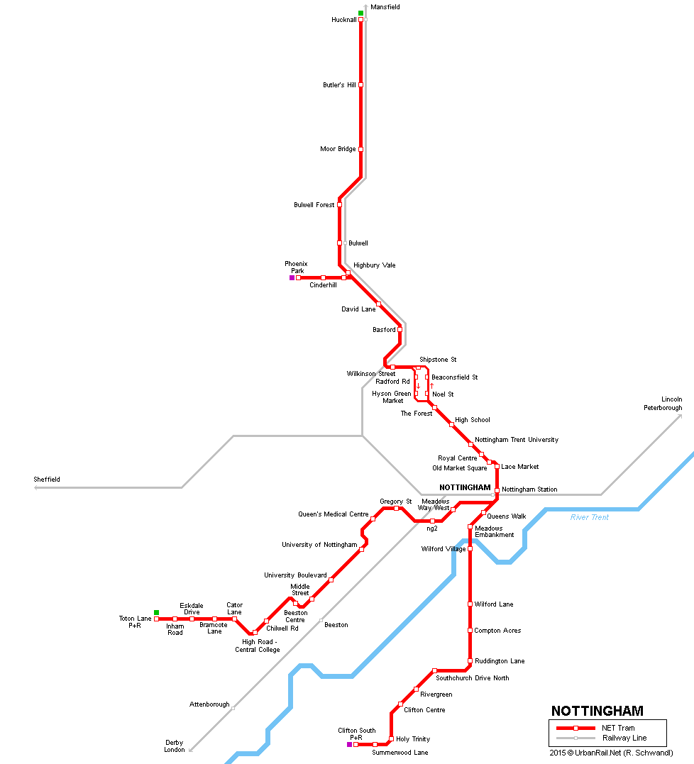 Map Of Uk Nottingham.Urbanrail Net Europe U K England Nottingham Tram Net
